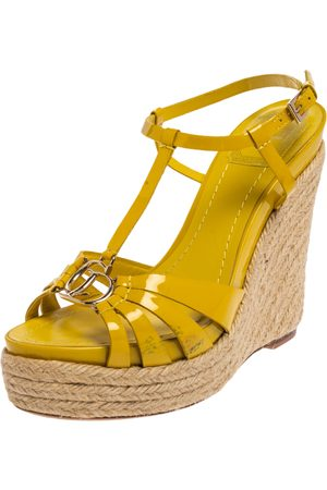 Dior Women Wedges - Christian Patent Leather CD2 T-Strap Espadrille Wedges Size 39