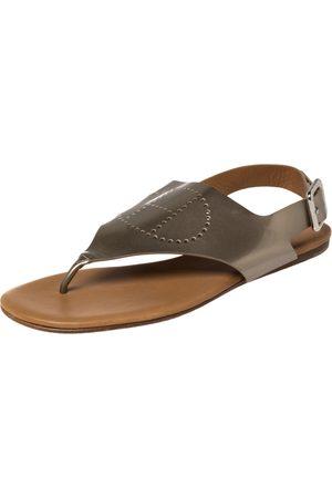 Hermès Hermès Grey Patent Leather Kola Thong Flat Slingback Sandals Size 38