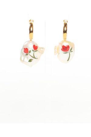 Simone Rocha Women Earrings - Hand Painted Baroque Pearl Earrings
