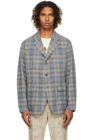 RRL Blue & Beige Plaid Woven Blazer