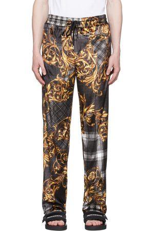 VERSACE Black Tartan Baroque Print Velour Lounge Pants