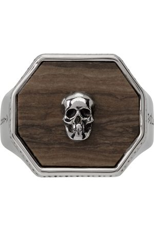 Alexander McQueen Silver & Brown Skull Signet Ring