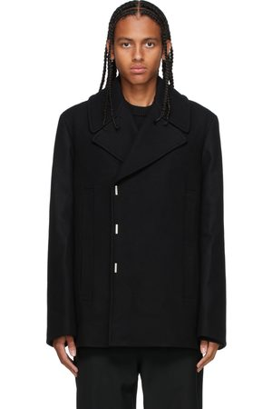 Givenchy Men Peacoats - Black Wool Double-Breasted Peacoat