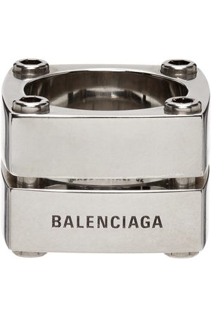 Balenciaga Silver Gear Plate Ring