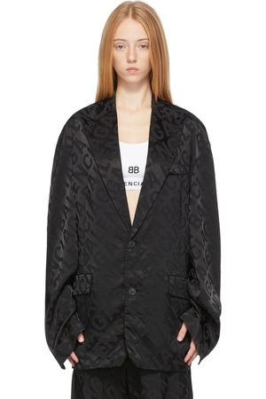 Balenciaga Black Large Logo Fluid Jacket