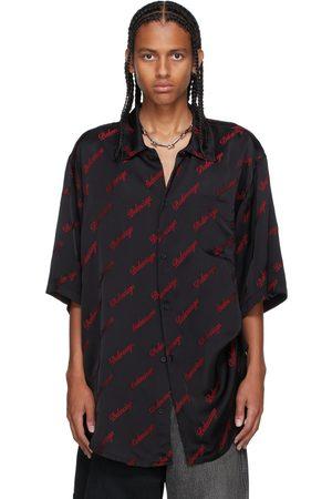 Balenciaga Black & Red Minimal Short Sleeve Shirt
