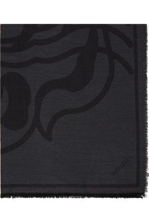 Kenzo Grey Wool K-Tiger Square Scarf