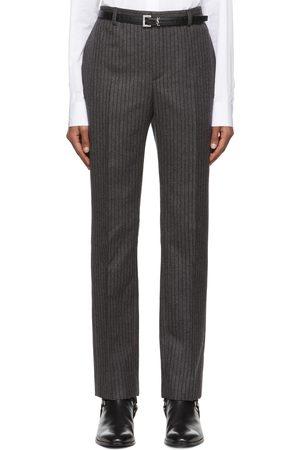 Saint Laurent Grey & Black Virgin Wool Striped Trousers
