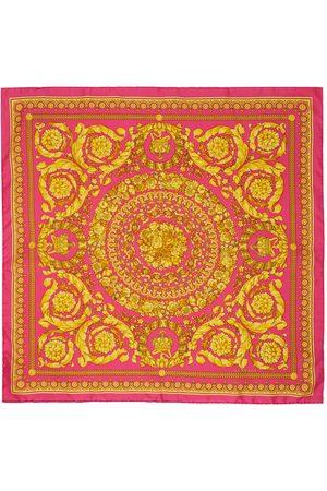 VERSACE Pink & Gold Barocco Print Scarf