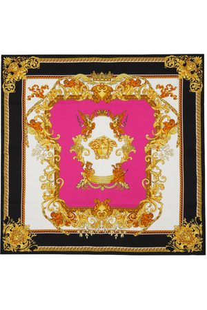 VERSACE Pink & Black Medusa Renaissance Scarf