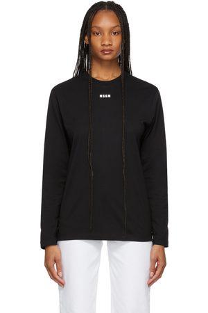 Msgm Women Long Sleeve - Black Micro Logo Long Sleeve T-Shirt