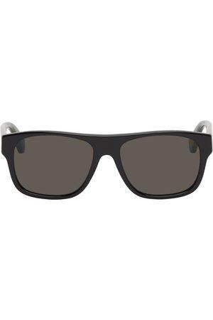 Gucci Men Sunglasses - Black Rectangular Signature Stripe Sunglasses