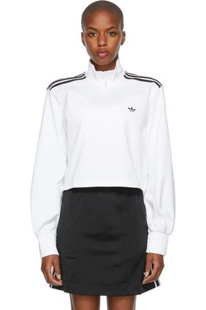 adidas Smocked Cuff Cropped Half-Zip Sweatshirt