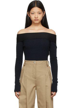Victoria Beckham Navy Bardot Long Sleeve T-Shirt