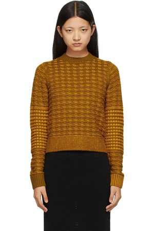 Victoria Beckham Khaki & Orange Merino Houndstooth Textured Sweater
