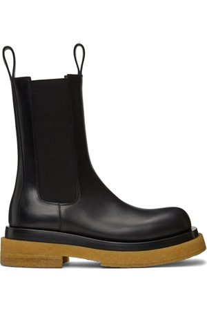 Bottega Veneta Black & Tan Crepe Sole Medium Lug Chelsea Boots