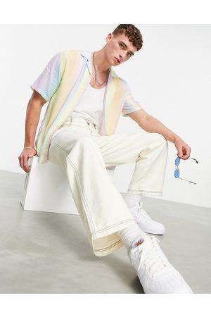 Pull&Bear Men Short sleeves - Pastel stripe shirt in lilac