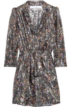IRO Woman Milad Wrap-effect Printed Silk-blend Lamé Mini Dress Gunmetal Size 38