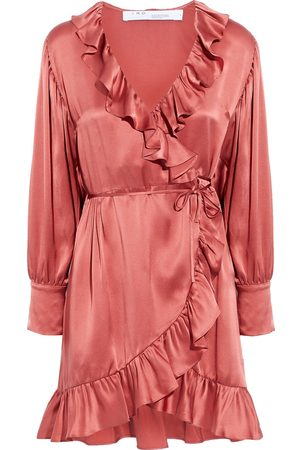 IRO Woman Zest Ruffled Washed-silk Mini Wrap Dress Antique Rose Size 36