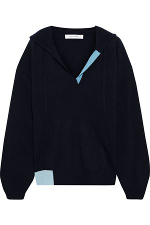 Chinti & Parker Women Hoodies - Woman Color-block Wool And Cashmere-blend Hoodie Navy Size S