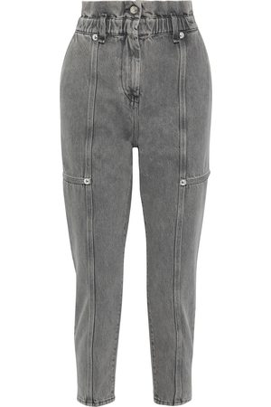 IRO Woman Goka Cropped Studded Acid-wash High-rise Tapered Jeans Anthracite Size 38