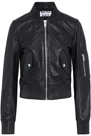 Walter Baker Woman Hailey Cropped Perforated Leather Bomber Jacket Size M