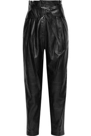 IRO Women Leather Pants - Woman Husvik Belted Pleated Leather Tapered Pants Size 38