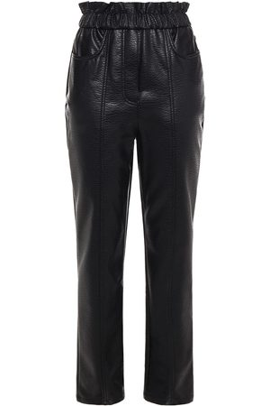 Serafini Women Leather Pants - Woman Gathered Faux Textured-leather Straight-leg Pants Size 38