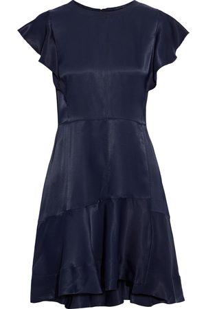 3.1 Phillip Lim Women Asymmetrical Dresses - Woman Asymmetric Ruffled Satin Mini Dress Midnight Size 4