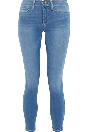 Frame Women High Waisted - Woman Le Skinny De Jeanne Cropped High-rise Skinny Jeans Mid Denim Size 26