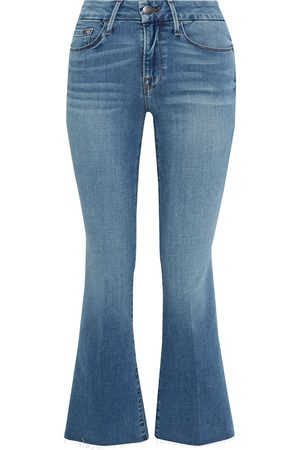 Frame Woman Le Crop Mini Boot Frayed Mid-rise Kick-flare Jeans Mid Denim Size 26
