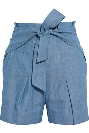 3.1 Phillip Lim Women Jeans - Woman Tie-front Pleated Cotton-chambray Shorts Mid Denim Size 4