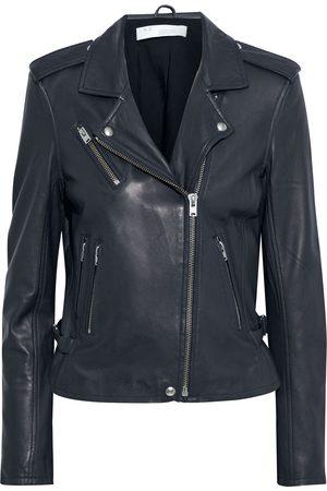 IRO Woman Newhan Leather Biker Jacket Midnight Size 40