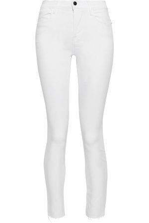 Frame Women High Waisted - Woman Le High Skinny Cropped Frayed Mid-rise Skinny Jeans Size 26