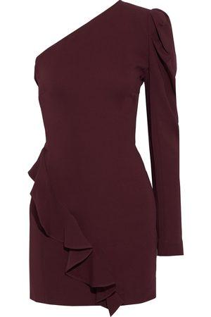 IRO Woman Azad One-shoulder Ruffled Crepe Mini Dress Burgundy Size 38