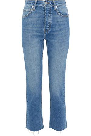 IRO Woman Deen Cropped Frayed High-rise Slim-leg Jeans Mid Denim Size 36