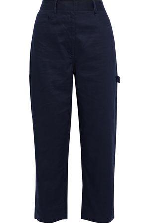 tibi Women Wide Leg Pants - Woman Cotton-twill Wide-leg Pants Midnight Size 26