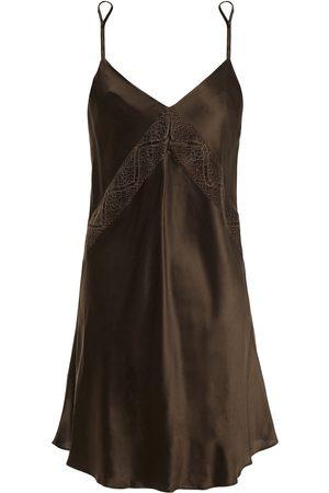 GINIA Women Nightdresses & Shirts - Woman Chevron Lace-trimmed Silk-satin Chemise Dark Size 10