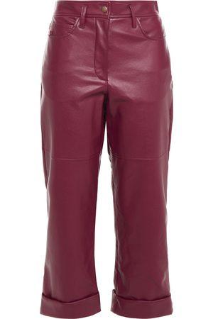 Serafini Women Leather Pants - Woman Faux Leather Kick-flare Pants Plum Size 38