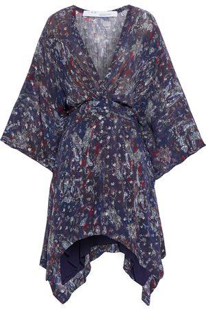 IRO Woman Ariakespe Asymmetric Printed Fil Coupé Georgette Mini Dress Dark Size 38