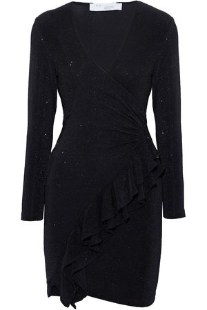 IRO Women Party Dresses - Woman Hime Wrap-effect Ruffled Metallic Stretch-knit Mini Dress Size 38