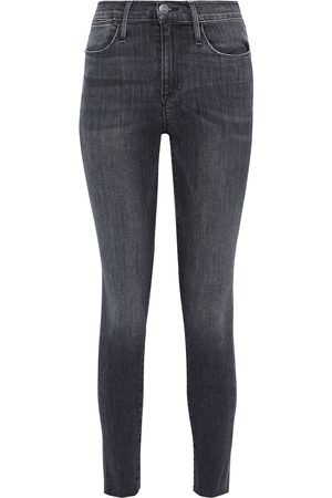 Frame Woman Le High Skinny Cropped Frayed Mid-rise Skinny Jeans Charcoal Size 26