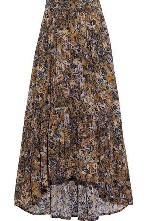 IRO Women Printed Skirts - Woman Juneaspe Gathered Printed Crepe De Chine Midi Skirt Mustard Size 38