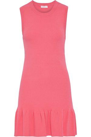 A.L.C. Women Party Dresses - Woman Vance Fluted Ribbed-knit Mini Dress Bubblegum Size M