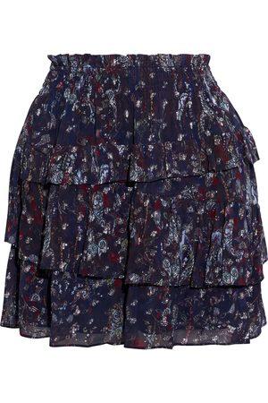 IRO Woman Hertyspe Tiered Printed Fil Coupé Georgette Mini Skirt Dark Size 38