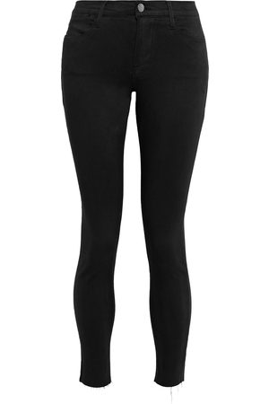 Frame Woman Le High Skinny Cropped Frayed Mid-rise Skinny Jeans Size 26
