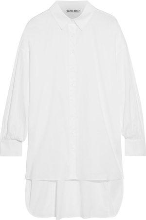 Walter Baker Women Long sleeves - Woman Vivian Asymmetric Shirred Cotton-poplin Shirt Size L
