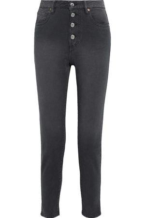 IRO Woman Sorbon Cropped Distressed High-rise Slim-leg Jeans Charcoal Size 26