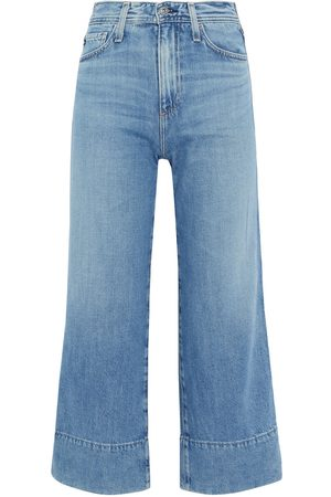 AG Jeans Women High Waisted - Woman Etta Cropped High-rise Wide-leg Jeans Mid Denim Size 23