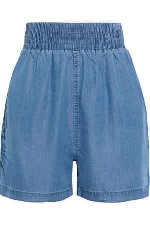 Walter Baker Woman Ariel Shirred Lyocell-chambray Shorts Mid Denim Size S